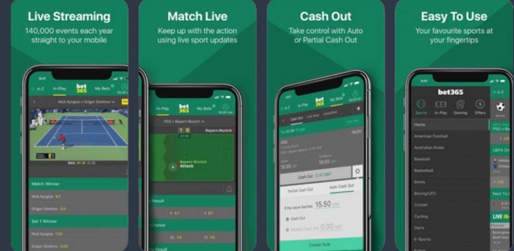 Изображение из официального магазина приложений Apple Bet365, 4 августа 2020 года.
